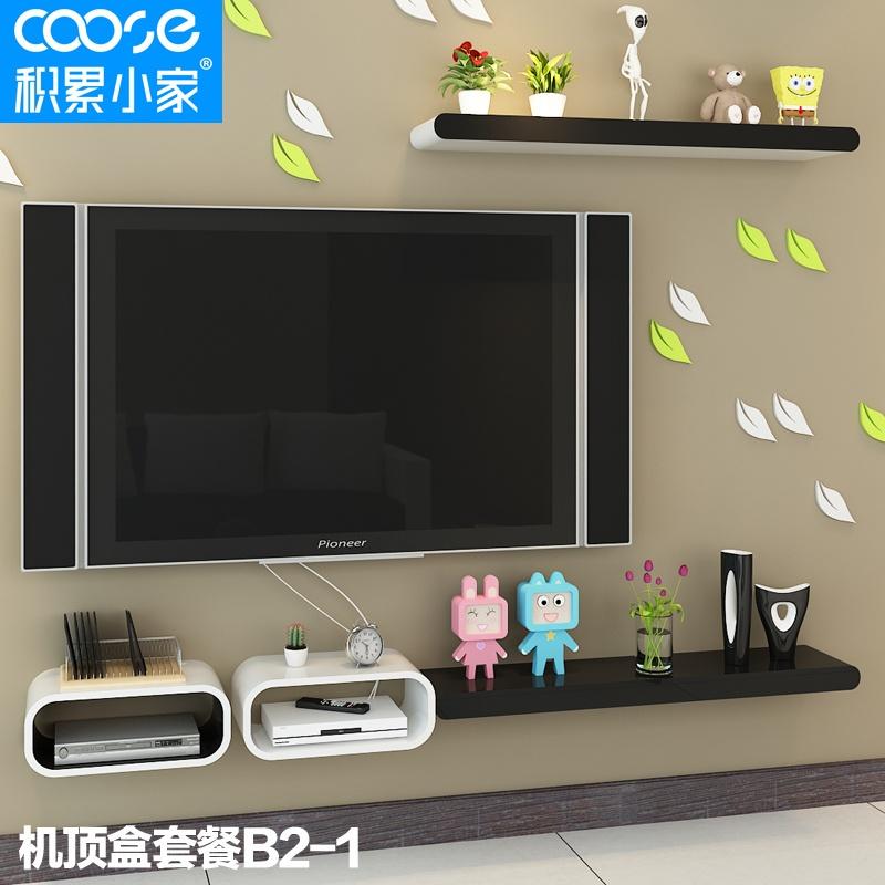 【积累小家置物架搁板电视机背景墙装饰架烤漆隔板架
