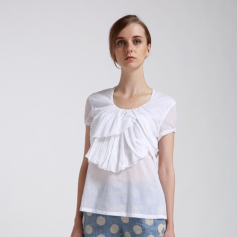 【less】胸前叠层 后背剖线抽皱设计 女性短袖上衣2151039_白色,l