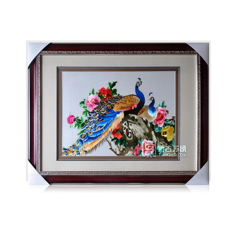 娇古苏绣 孔雀牡丹装饰画 动物苏绣 刺绣艺术品 居家装饰