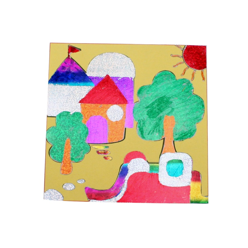 幼儿园手工材料镭射贴纸画儿童diy自制贴画益智玩具