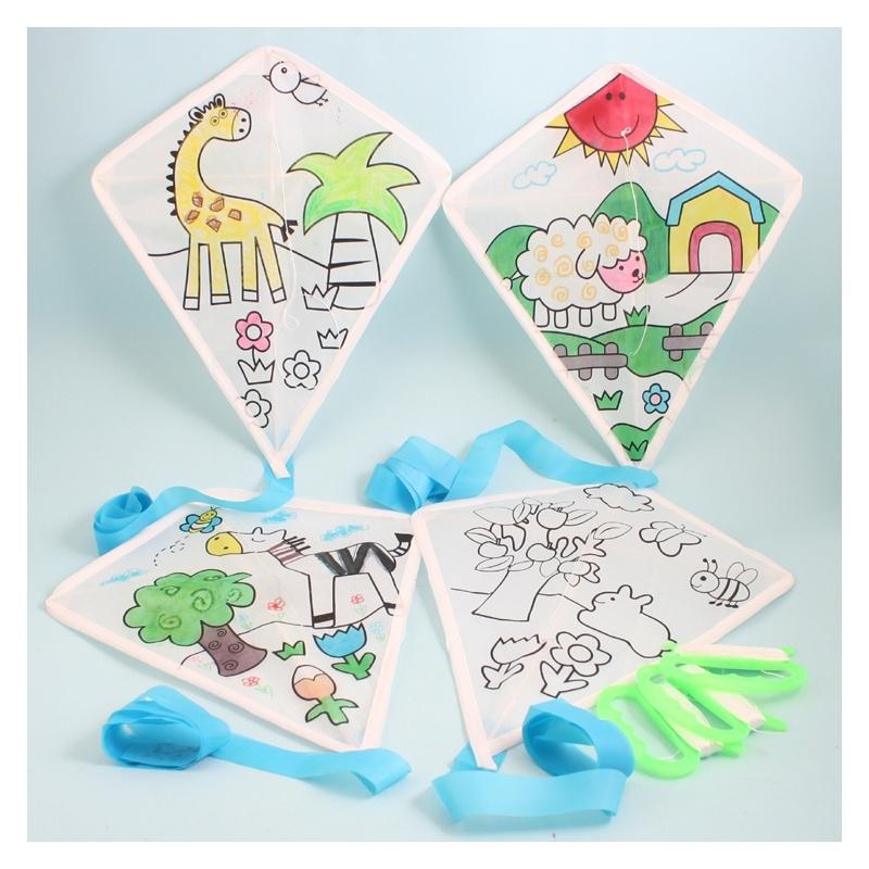 儿童手工制作空白手绘风筝绘画风筝diy风筝小型风筝-活动教学风筝