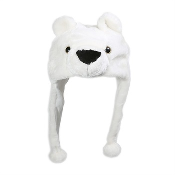 依吉饰 卡通小白熊毛绒女士帽子 冬季保暖护耳帽 可爱