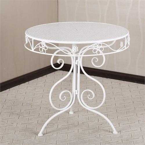 果漫欧式铁艺大圆桌 阳台露台花园室内外休闲桌子_白色