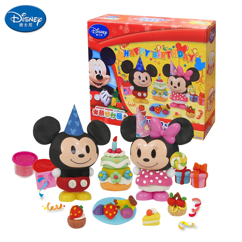 迪士尼儿童彩泥套装 米奇创意杯装彩泥无毒 儿童dy益智玩具