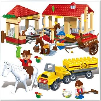 邦宝 益智拼装积木 塑料拼插玩具 牧马场牧场景积木房子房屋货车