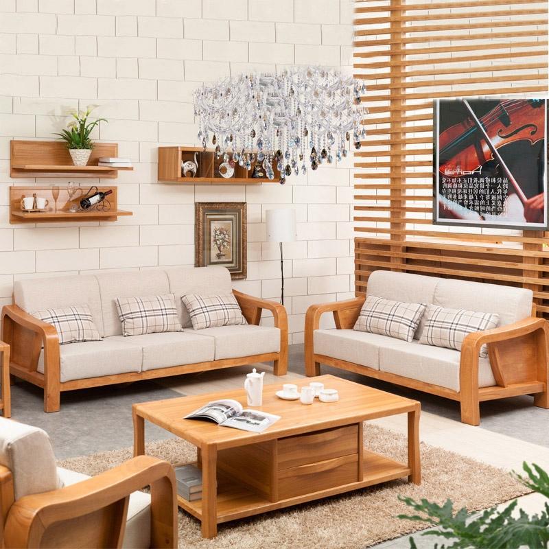 御品工匠 橡木客厅实木沙发组合中式实木沙发金胡桃色 h168