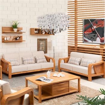 橡木客厅实木沙发组合中式实木沙发金胡桃