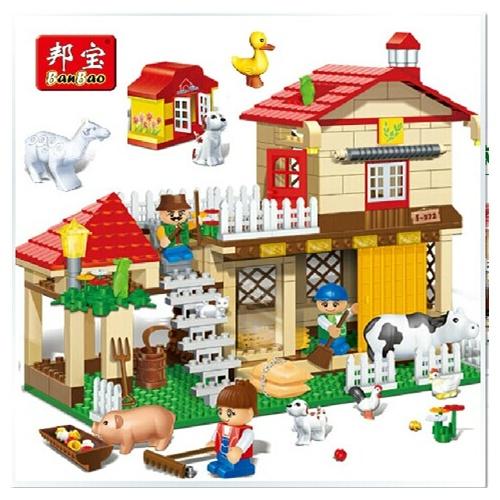 邦宝 房屋拼装积木 益智拼插塑料积木玩具农场动物农庄