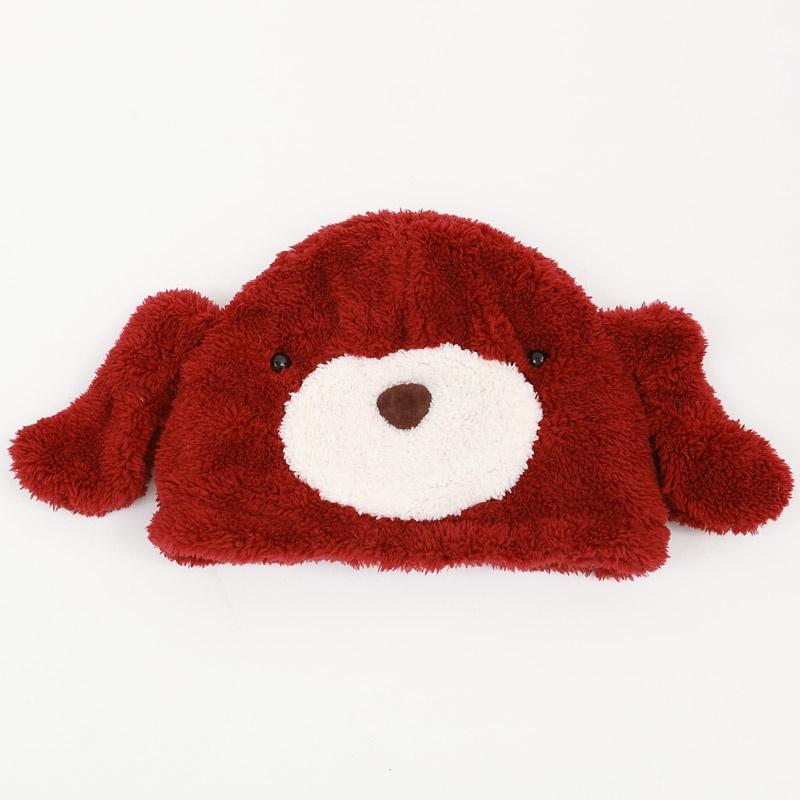 卡通头套 毛绒卡通帽子 可爱动物帽子 冬季保暖_紫色狗狗