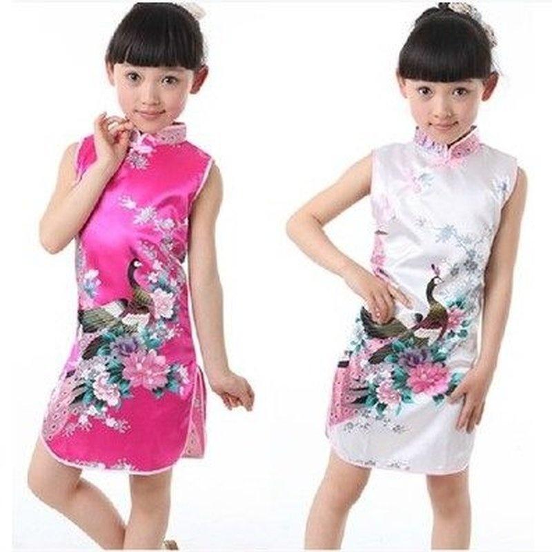 2014新款夏季童装女童夏装儿童旗袍演出服唐装连衣裙