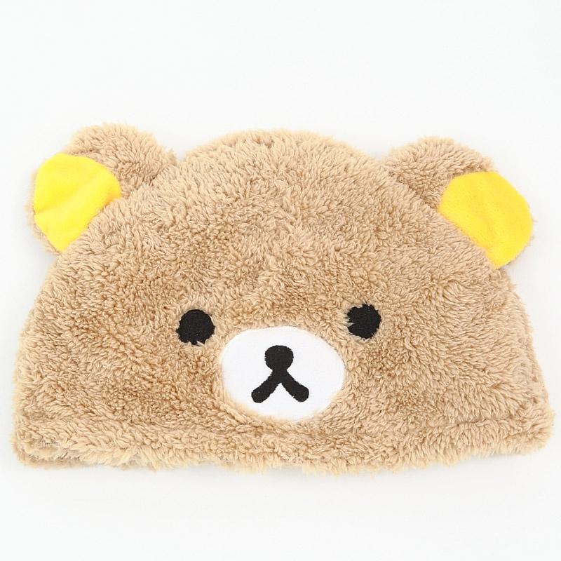 卡通头套 毛绒卡通帽子 可爱动物帽子 冬季保暖_黄色轻松熊