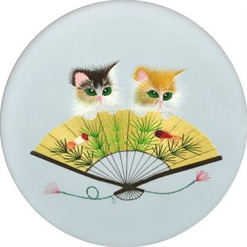 娇古苏绣 扇子小猫图案成品 刺绣艺术品 动物苏绣 猫