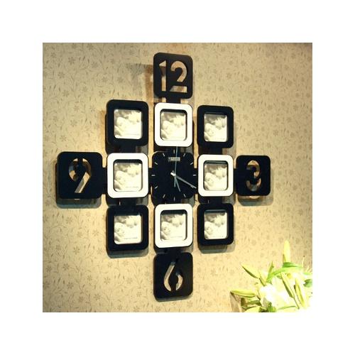 自由城 创意九宫格 相框挂钟 装饰挂钟 创意挂钟 黑白 ajh55