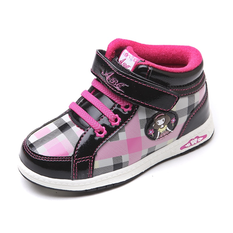 abc童鞋 女童鞋 冬季新款儿童运动鞋加绒保暖儿童鞋_黑色/玫红(中小童