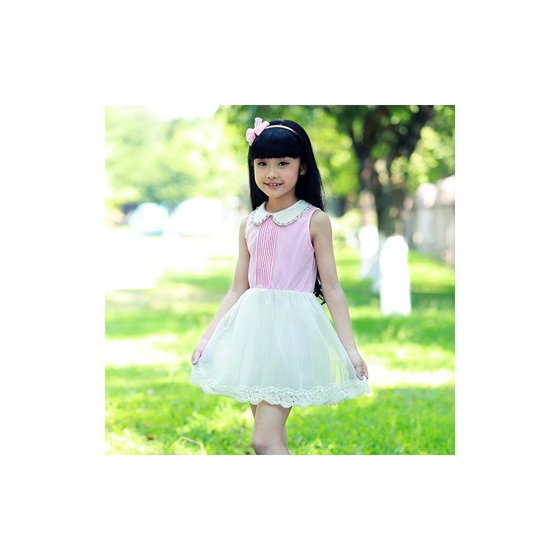 公主驾到2014女童夏装新款韩版小清新可爱娃娃领连衣裙_粉红,140cm