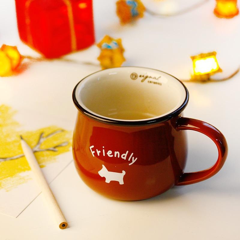 zakka风陶瓷马克杯 杯子 水杯 早餐杯 牛奶杯 咖啡杯_巧克力色