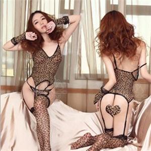 【信生活】魅舞精灵 性感女士睡裙豹纹套装六件套 女用性感情趣透视内衣套装诱惑货到付款 情趣