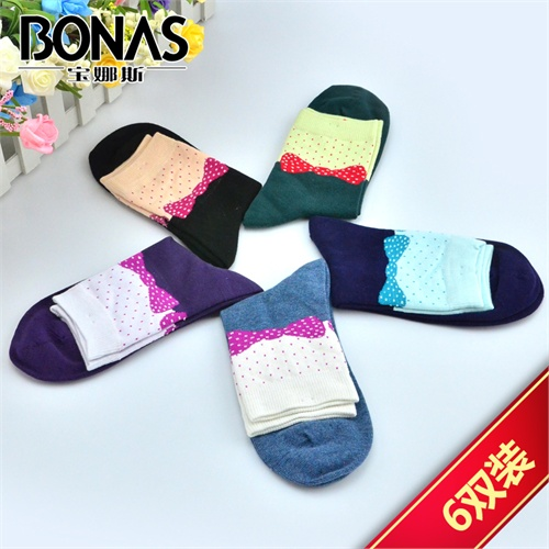 宝娜斯 女棉袜 6双装袜子套装 女士秋冬款可爱多色女棉袜 05214