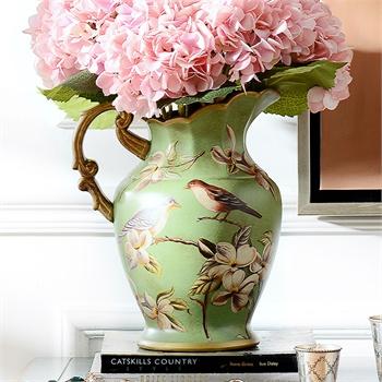 奇居良品 欧式客厅装饰工艺品花插花器摆瓶 绿底春意彩绘花鸟花瓶