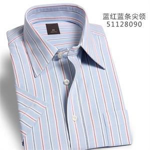 纳捷男春夏蓝底红蓝条纯棉宽松大码条纹商务休闲正装免烫短袖衬衫