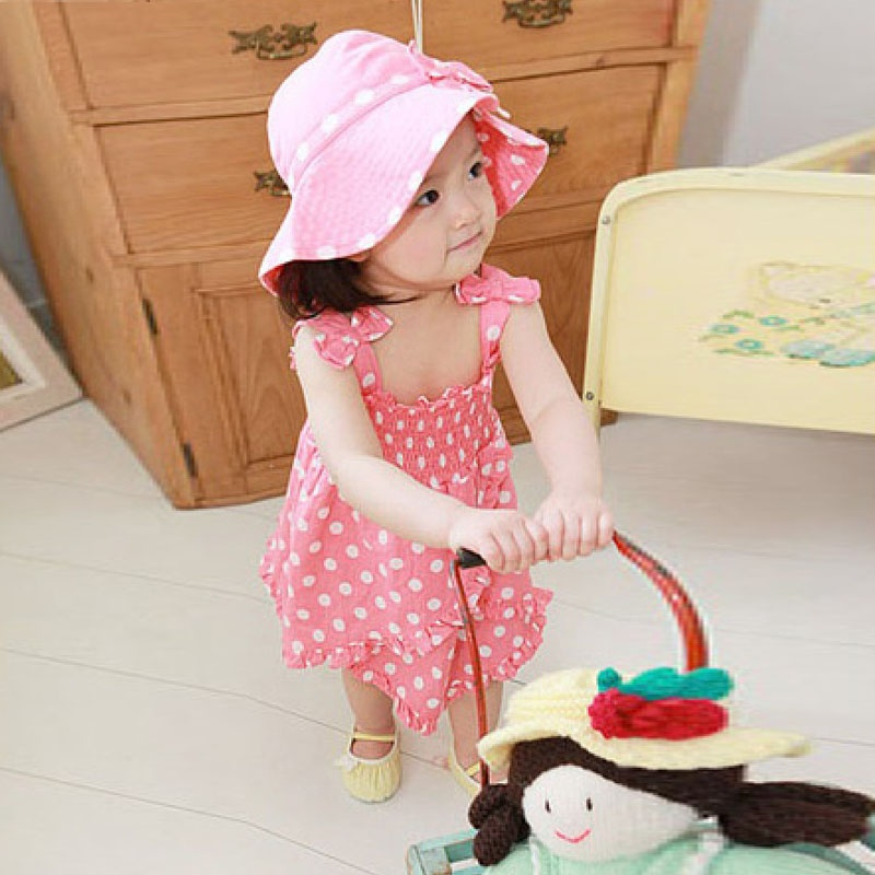 2014女童套装可爱女宝宝三件套装女童吊带裙 帽子 短裤套装_如图,95cm
