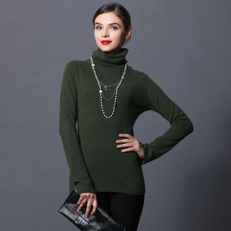 钦秀女士高领喇叭袖针织羊绒衫_墨绿,l图片