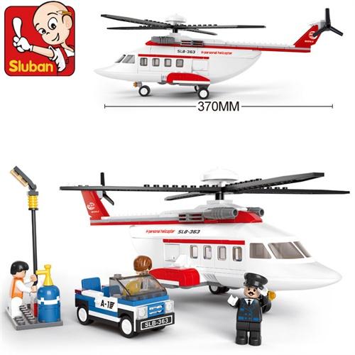 小鲁班 乐高式拼插拼装积木玩具 b0363 航空天地 私人飞机 直升机