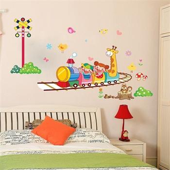 壹汇 儿童房卡通教室卧室电视幼儿园可移除墙贴纸 火车ay764 _ay764