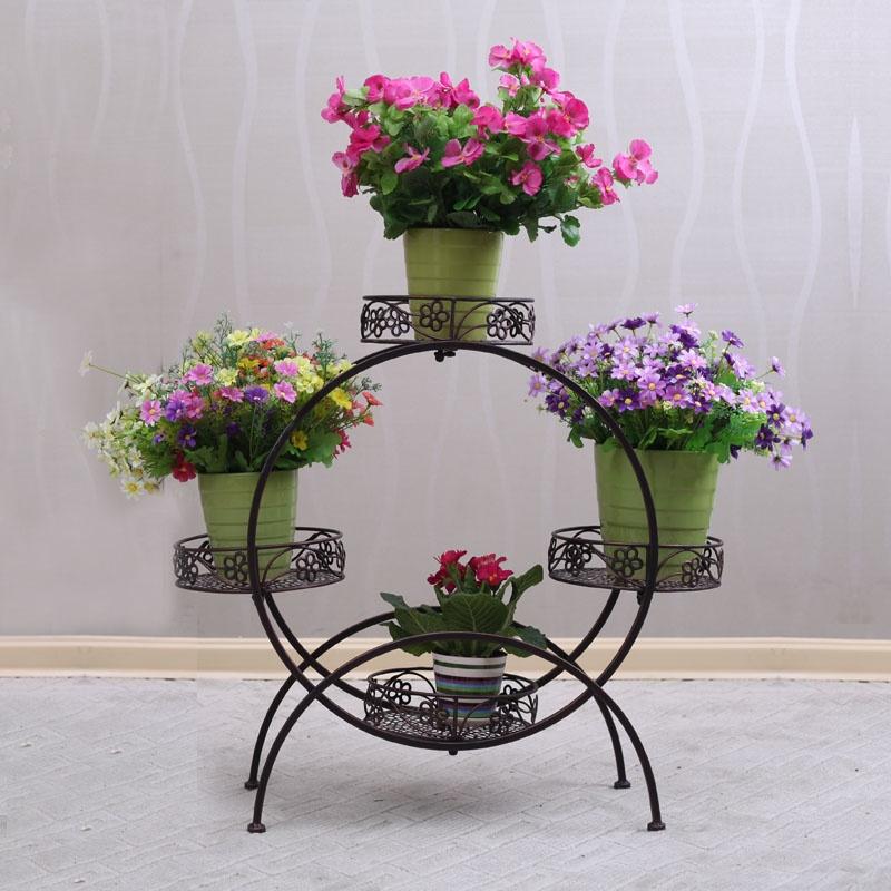 【果漫欧式铁艺落地式花架多层室内阳台客厅花盆盆