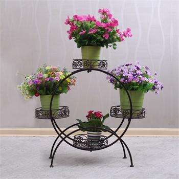 果漫欧式铁艺落地式花架多层室内阳台客厅花盆盆栽花