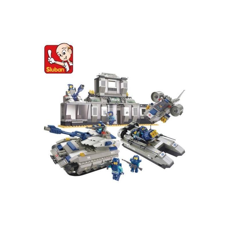 小鲁班 乐高式拼插拼装积木玩具 b0211 特种部队 特警总部