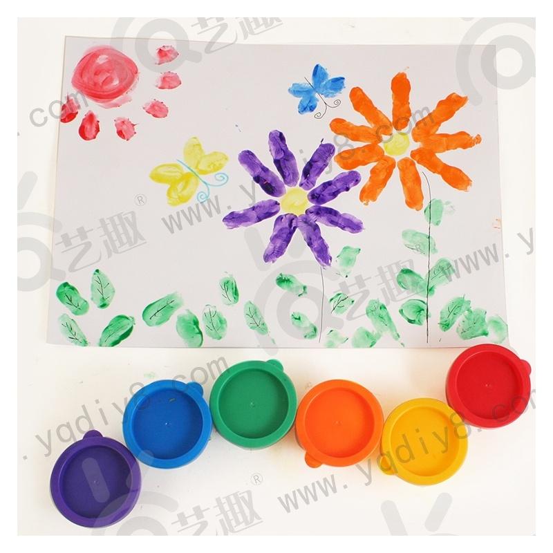 幼儿园手工材料手工diy儿童手工制作-6色手指印画颜料