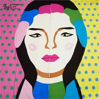 原创抽象画人脸印花纯羊毛围巾