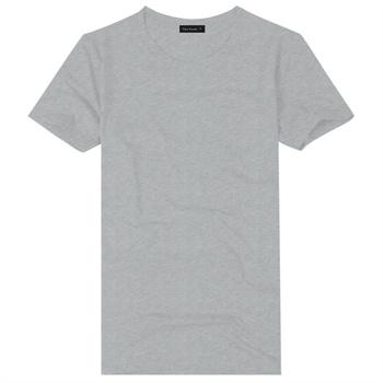 男士夏季薄款半袖棉t恤 时尚男装黑白灰红纯色圆领短袖_浅灰色txa005g