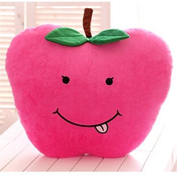 咔噜噜 可爱水果抱枕 创意桔子苹果抱枕 西瓜毛绒玩具_玫红色苹果45