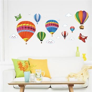 娃娃热气球墙贴可移除墙壁装饰画墙纸客厅卧室床头