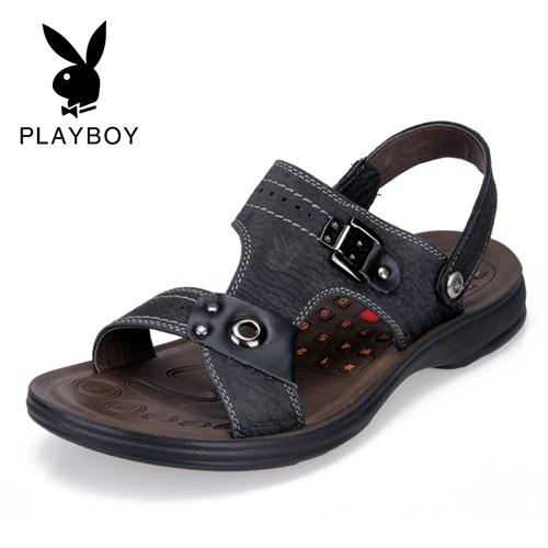 {尾品汇}花花公子凉鞋 真皮正品男士凉鞋夏季沙滩鞋男户外休闲鞋父亲凉鞋