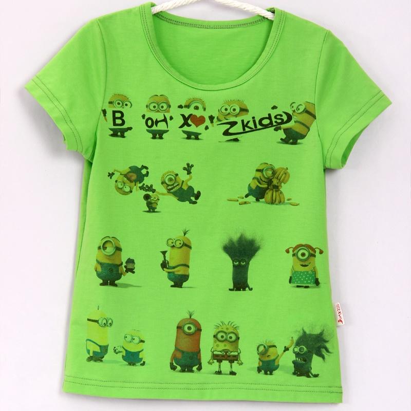 果男童童装_欢心果 韩版童装男童短袖t恤纯棉夏新款小黄人儿童半袖大童t恤_绿色,3