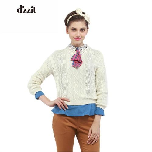 dzzit地素春季新款女装菱形绞花针织套头衫|331e414