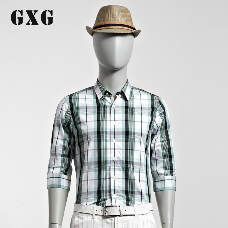 gxg男装2014夏装新款 时尚休闲修身斯文中袖衬衫#32103006
