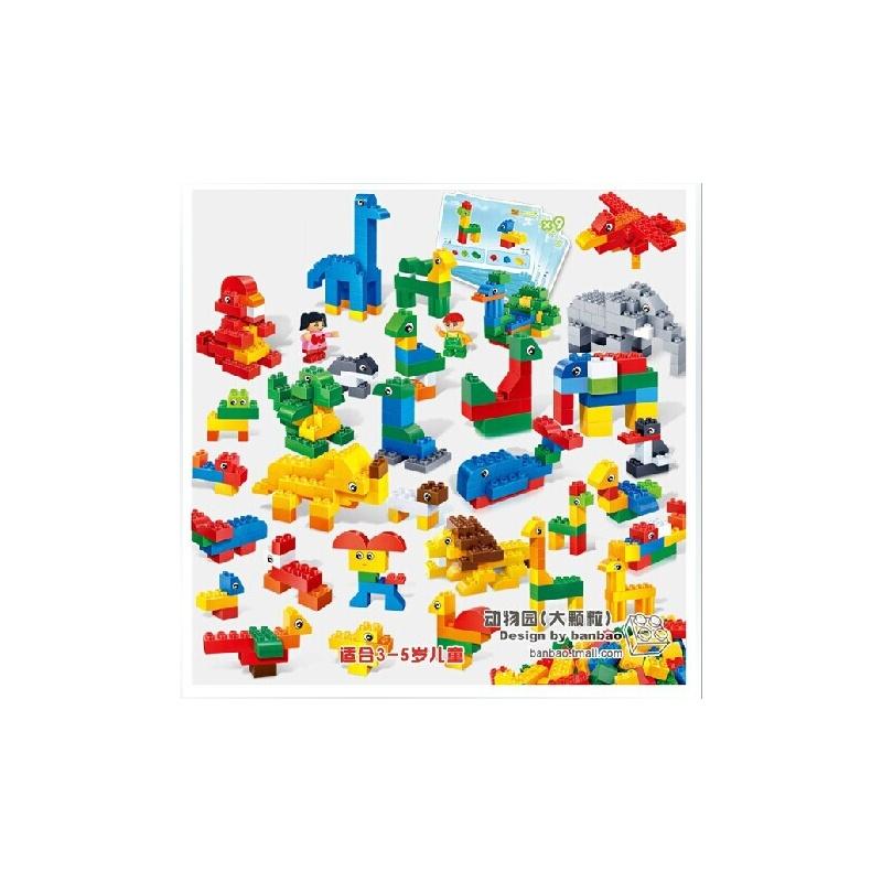 邦宝diy创意启蒙大块大颗粒积木教育系列玩具 动物园 桶装212片