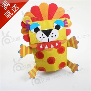 幼儿园手工材料手工diy儿童手工制作幼儿手工diy--狮子纸袋手偶