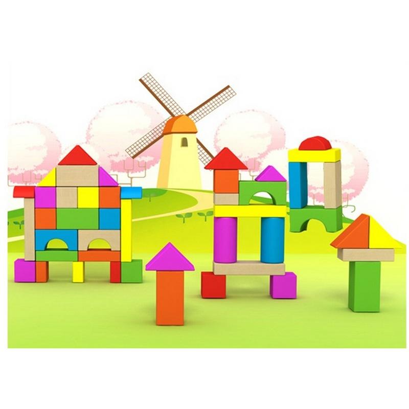 木童 儿童益智积木玩具 多彩木质积木 40粒桶装城堡 tz-b2005