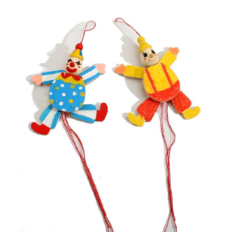 艺趣幼儿手工制作玩具拉线小丑人偶拼装涂色diy儿童手工早教益智_白坯