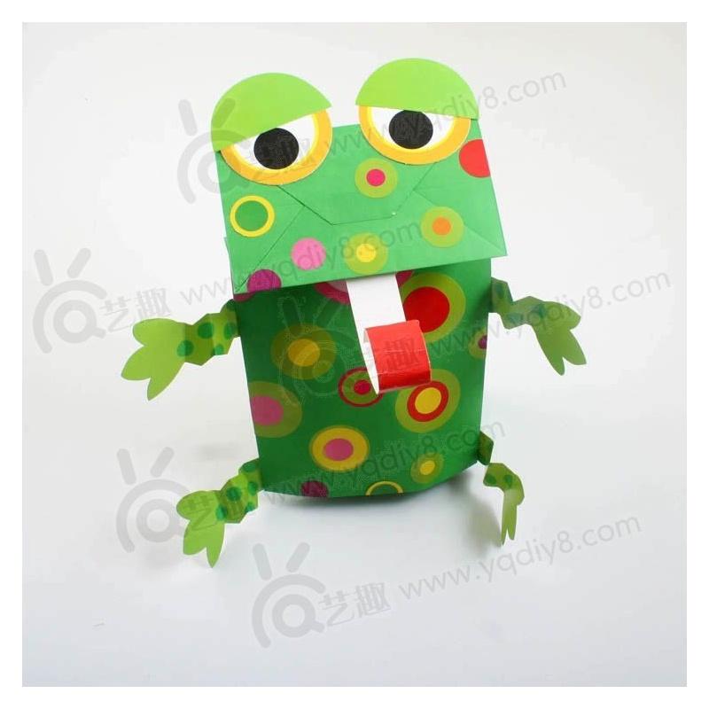 礼物幼儿园手工材料手工diy儿童手工--青蛙纸袋手偶
