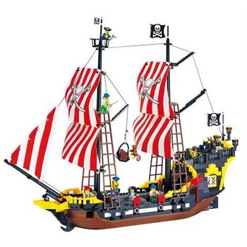 启蒙 乐高式积木 智力拼装积木黑珍珠海盗船