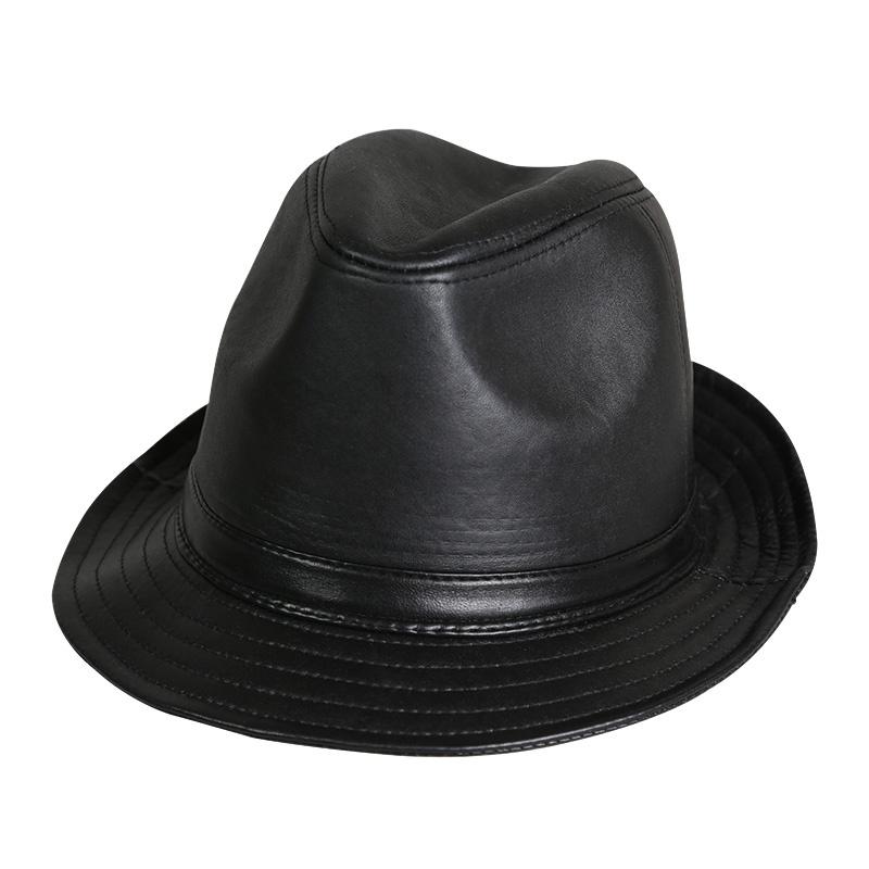包邮依吉饰 复古英伦男士真皮礼帽 羊皮帽子秋冬季男帽绅士爵士帽