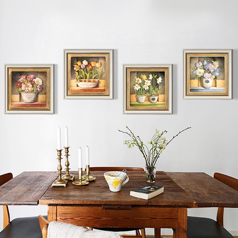 墙蛙wallwa欧式餐厅客厅装饰画四件套壁画挂画有框画