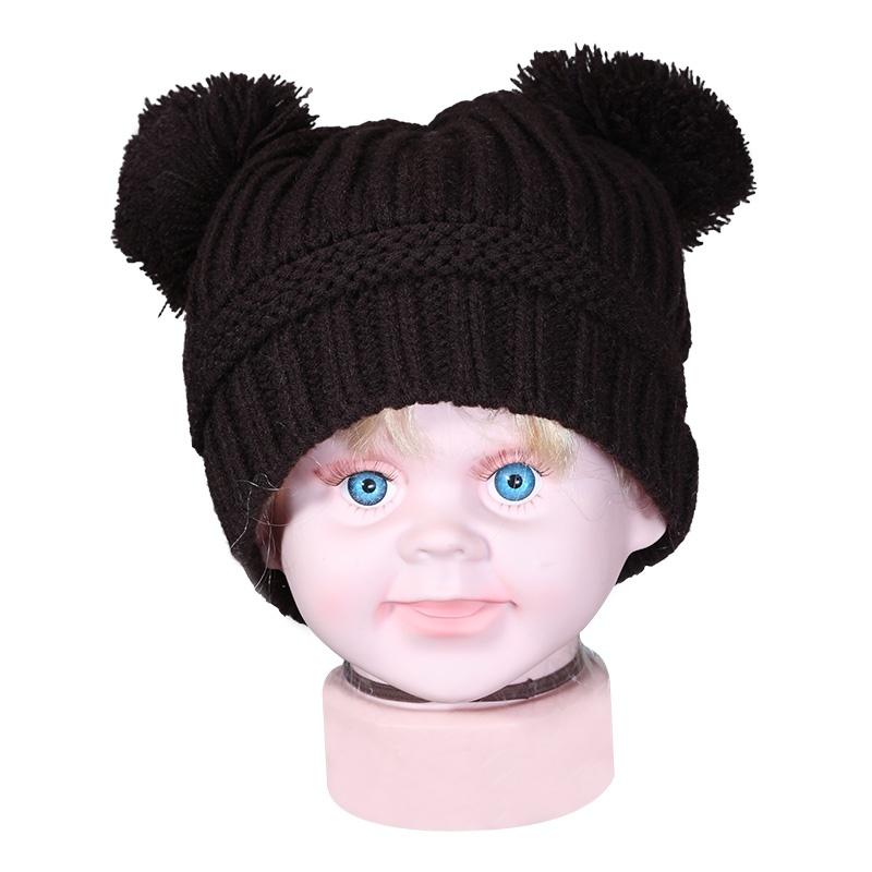 依吉饰 超萌卡通毛线儿童帽子 球球耳朵宝宝针织帽 秋冬季保暖帽_深