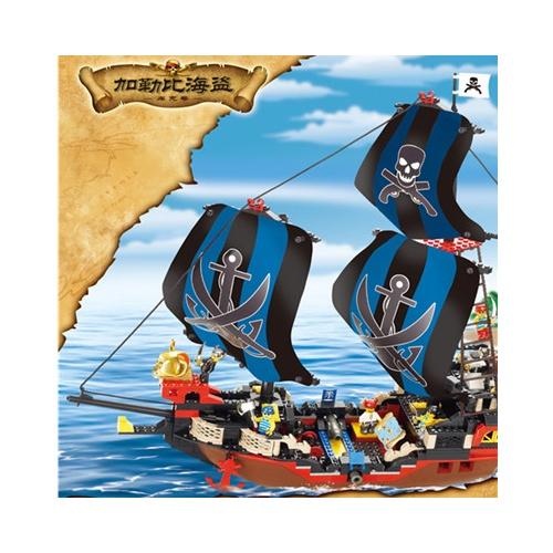 小鲁班m38-b0128益智积木 中世纪海盗船 库克号超霸气 512片乐高式